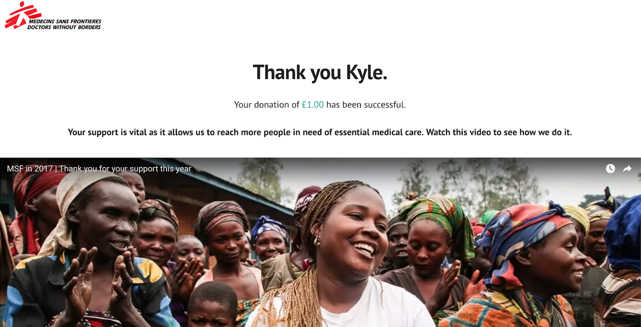 MSF donations journey thank you page