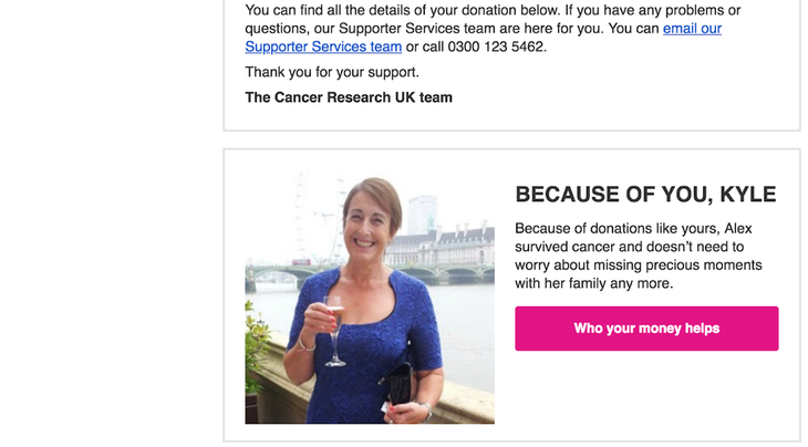 Cancer Research UK personalised thank you follow up email