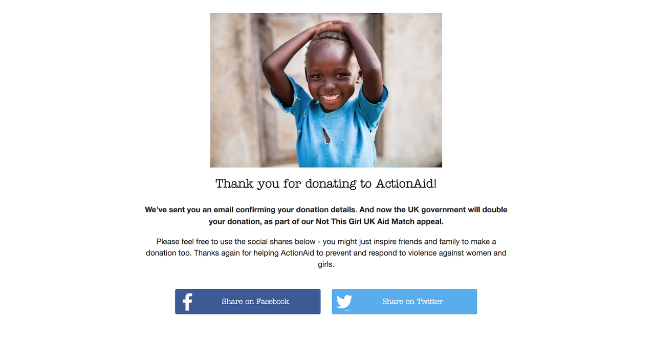 Action Aid donations journey calls the user to share the charity on social media