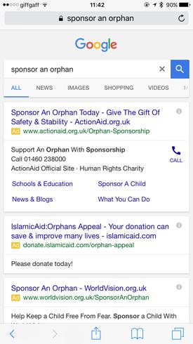 Google AdWords mobile search